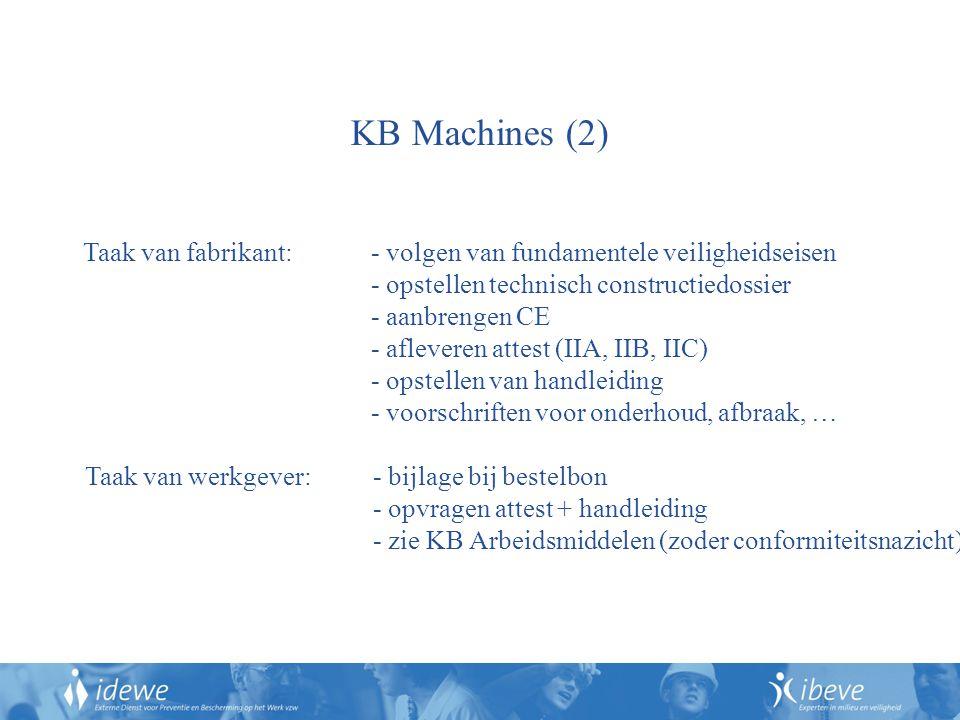 KB Machines (2) Taak van fabrikant: - volgen van fundamentele veiligheidseisen. - opstellen technisch constructiedossier.