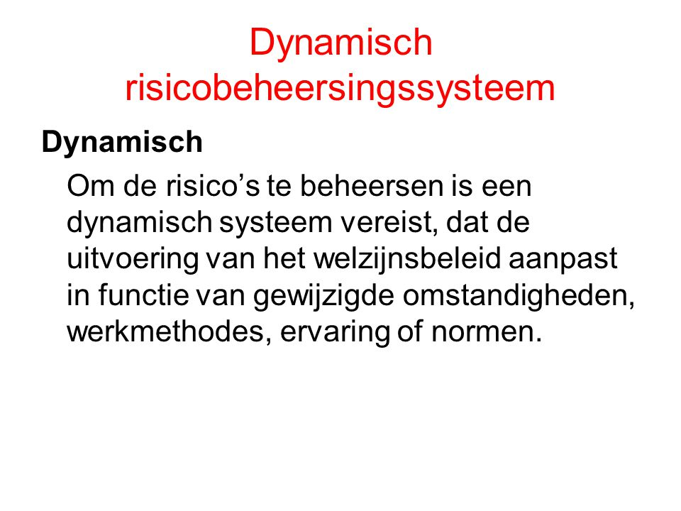 Dynamisch risicobeheersingssysteem