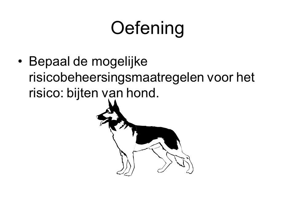 Oefening Bepaal de mogelijke risicobeheersingsmaatregelen voor het risico: bijten van hond.