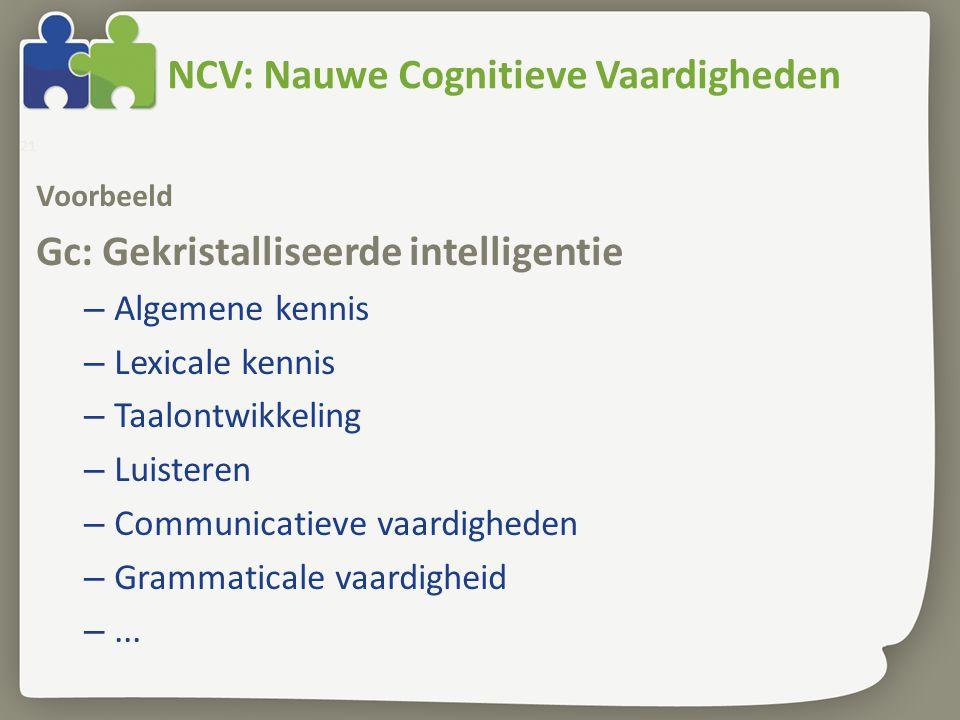 NCV: Nauwe Cognitieve Vaardigheden