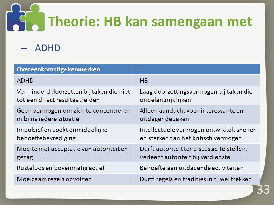 Theorie: HB kan samengaan met