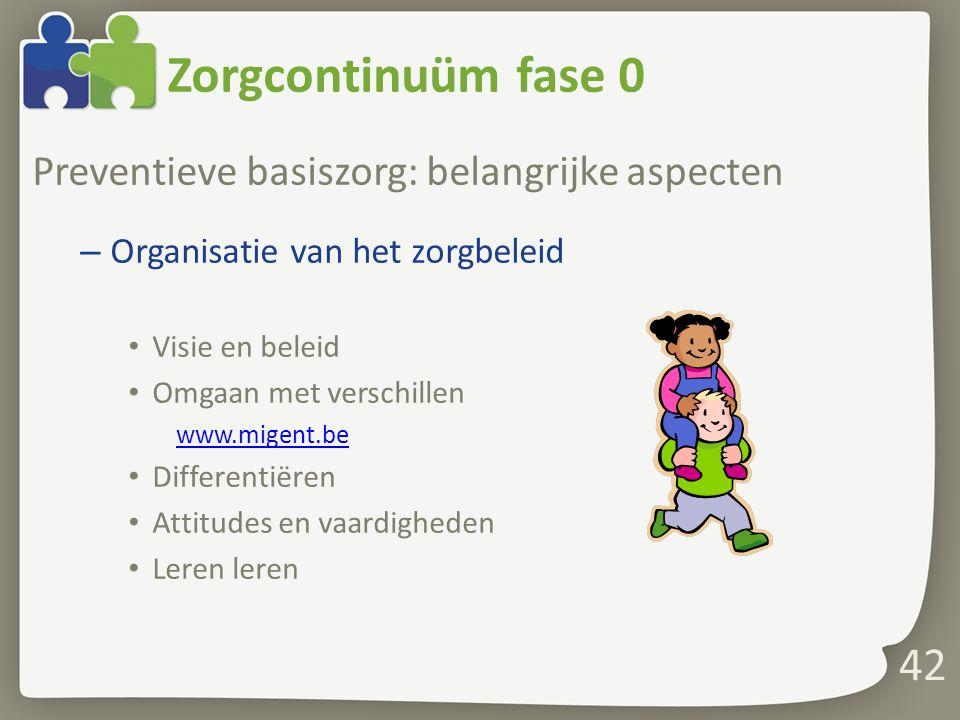 Zorgcontinuüm fase 0 Preventieve basiszorg: belangrijke aspecten