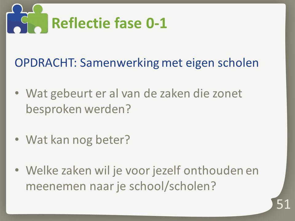 Reflectie fase 0-1 OPDRACHT: Samenwerking met eigen scholen