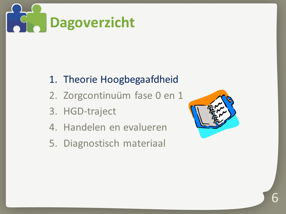 Dagoverzicht Theorie Hoogbegaafdheid Zorgcontinuüm fase 0 en 1