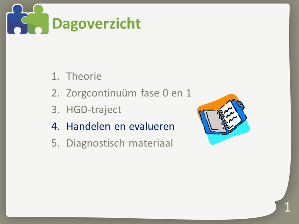 Dagoverzicht Theorie Zorgcontinuüm fase 0 en 1 HGD-traject