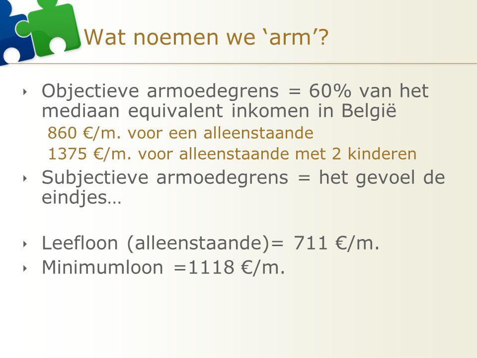 Wat noemen we 'arm' Objectieve armoedegrens = 60% van het mediaan equivalent inkomen in België. 860 €/m. voor een alleenstaande.