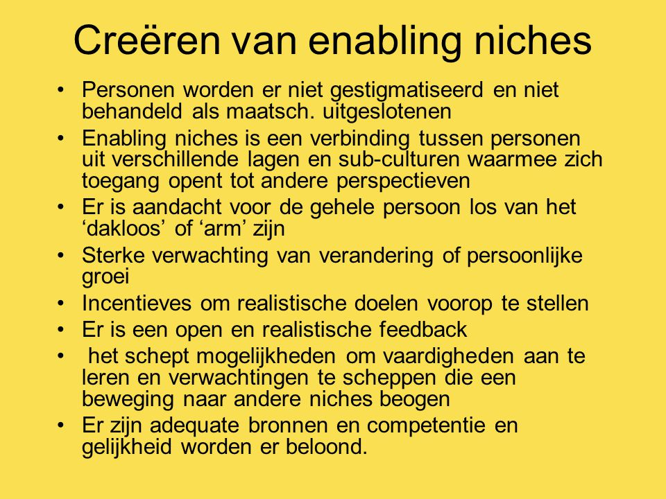 Creëren van enabling niches