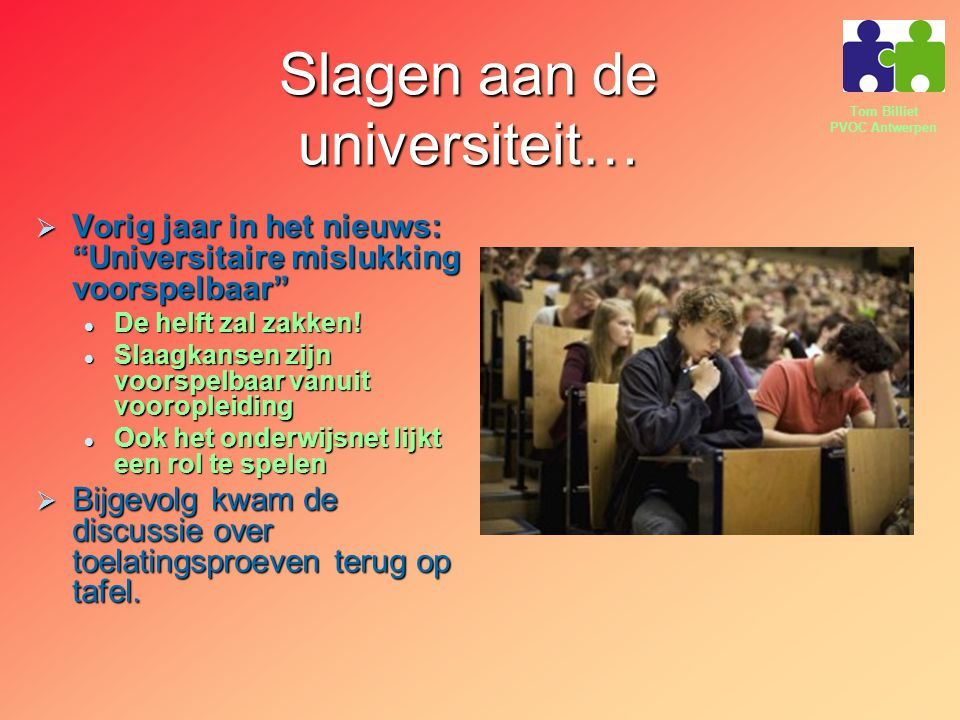 Slagen aan de universiteit…