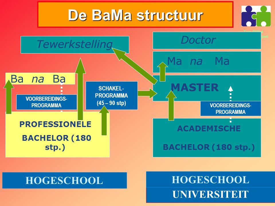 De BaMa structuur Doctor Tewerkstelling Ma na Ma Ba na Ba MASTER