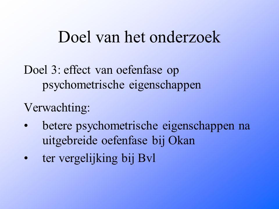 Doel van het onderzoek Doel 3: effect van oefenfase op psychometrische eigenschappen. Verwachting: