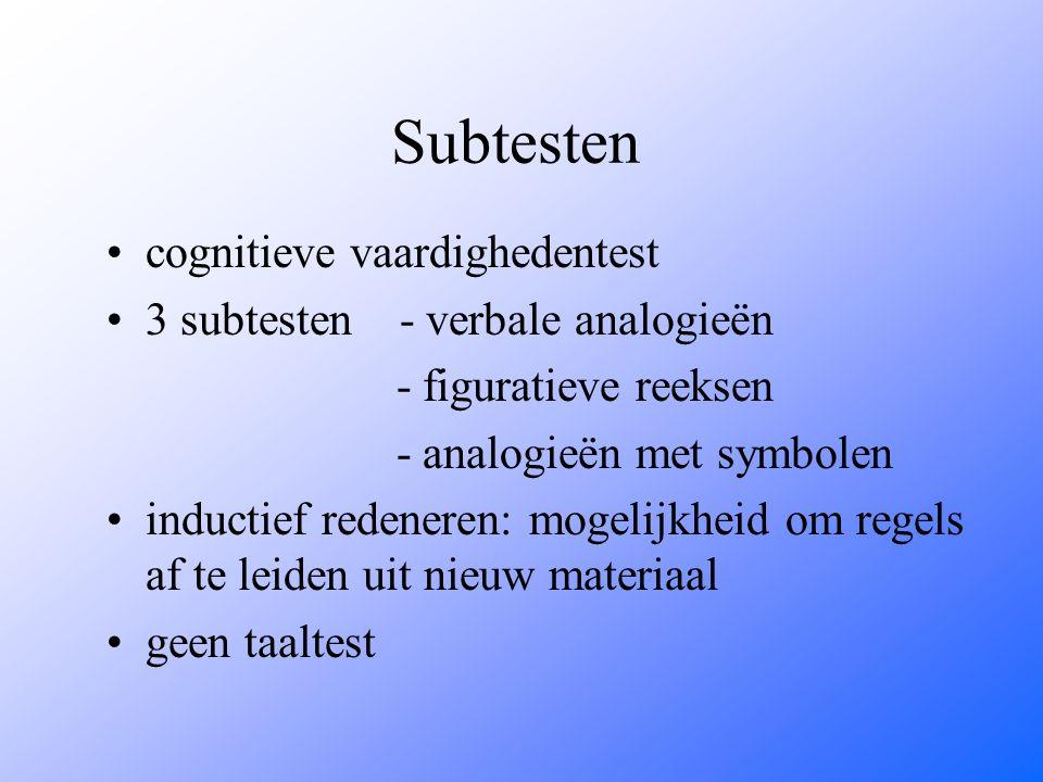 Subtesten cognitieve vaardighedentest 3 subtesten - verbale analogieën