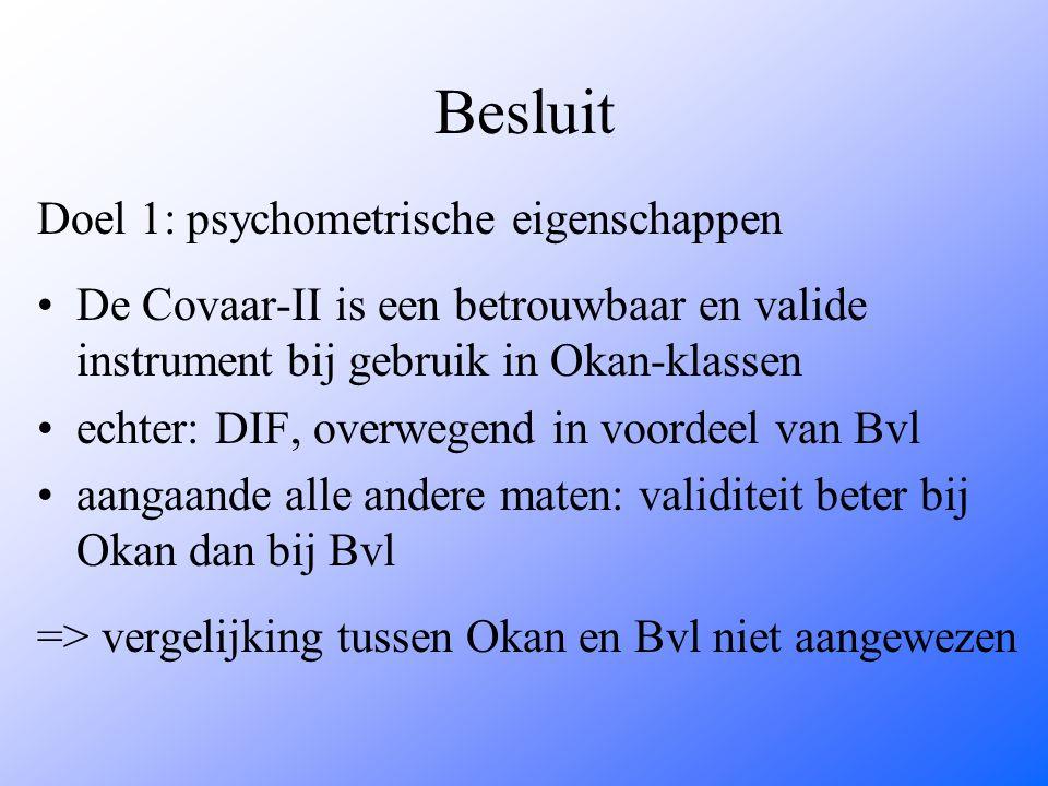 Besluit Doel 1: psychometrische eigenschappen