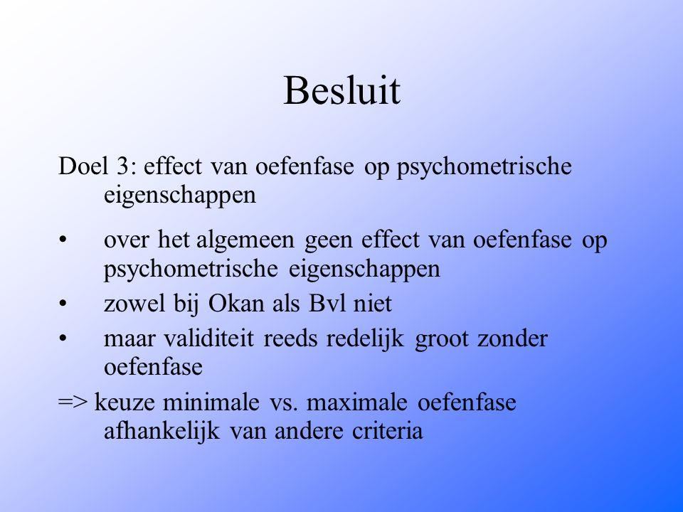 Besluit Doel 3: effect van oefenfase op psychometrische eigenschappen