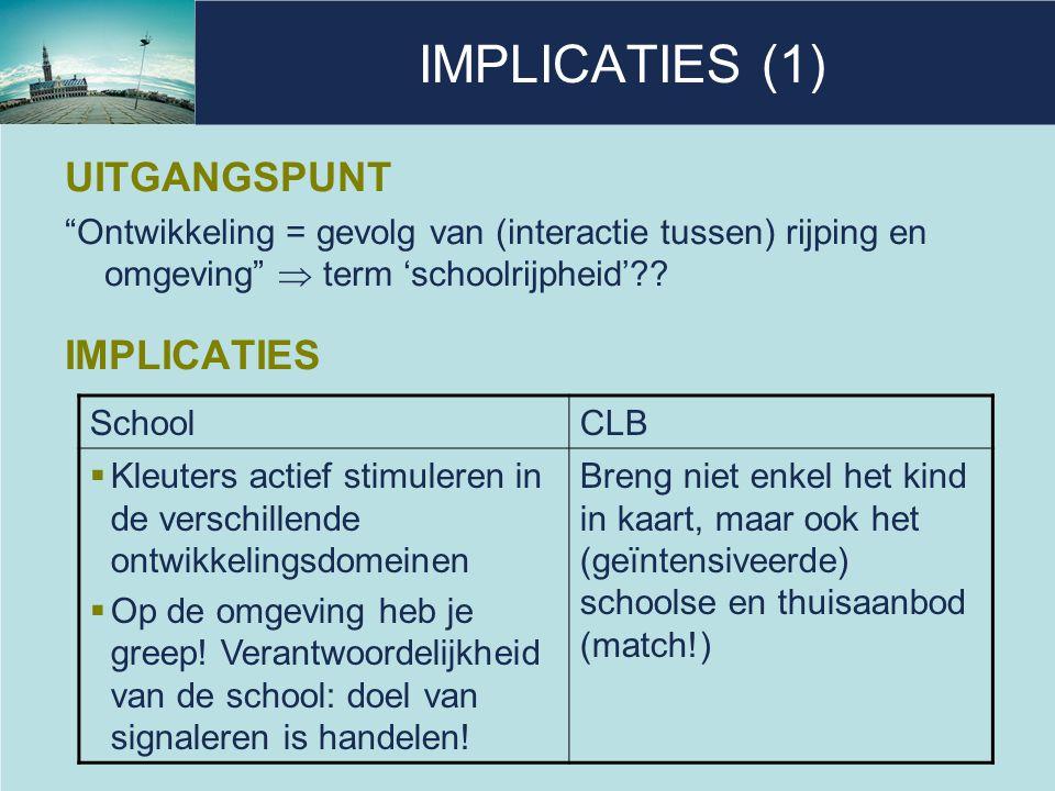 IMPLICATIES (1) UITGANGSPUNT IMPLICATIES
