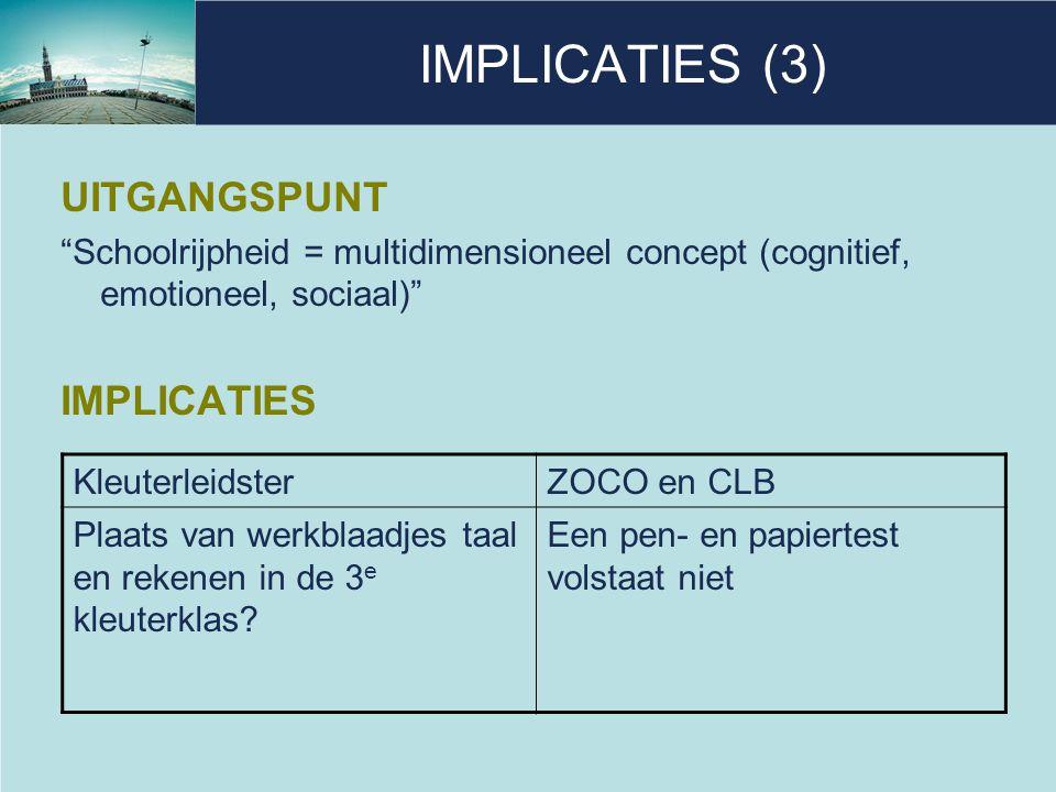 IMPLICATIES (3) UITGANGSPUNT IMPLICATIES
