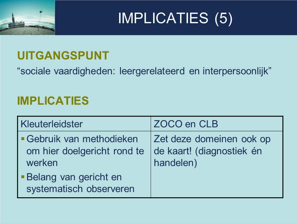 IMPLICATIES (5) UITGANGSPUNT IMPLICATIES