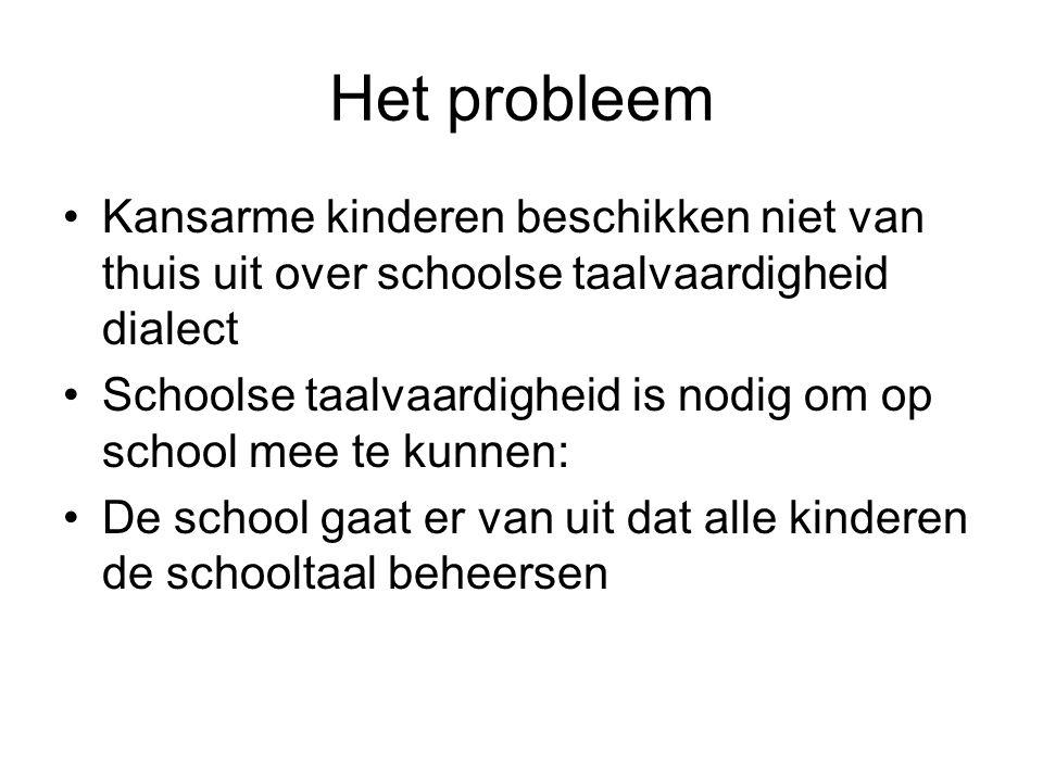 Het probleem Kansarme kinderen beschikken niet van thuis uit over schoolse taalvaardigheid dialect.