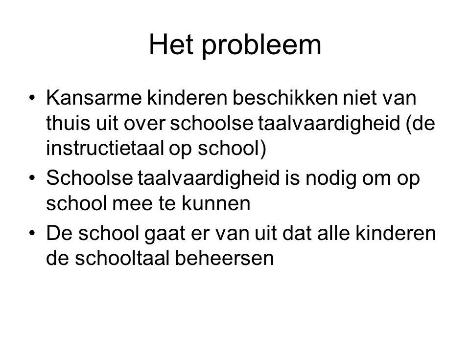 Het probleem Kansarme kinderen beschikken niet van thuis uit over schoolse taalvaardigheid (de instructietaal op school)