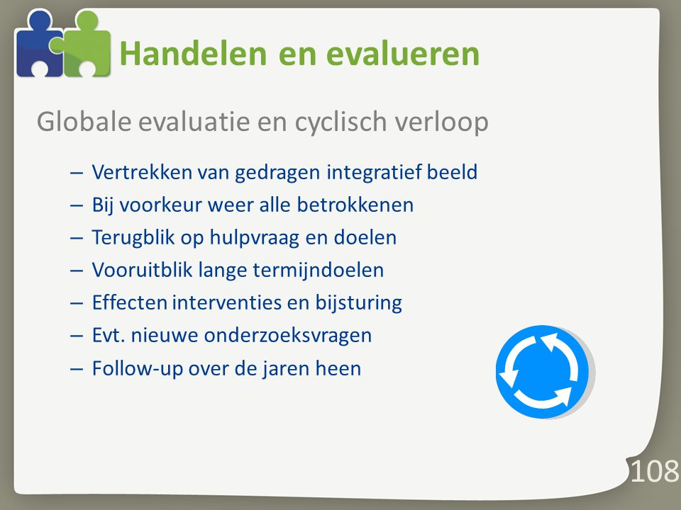Handelen en evalueren Globale evaluatie en cyclisch verloop