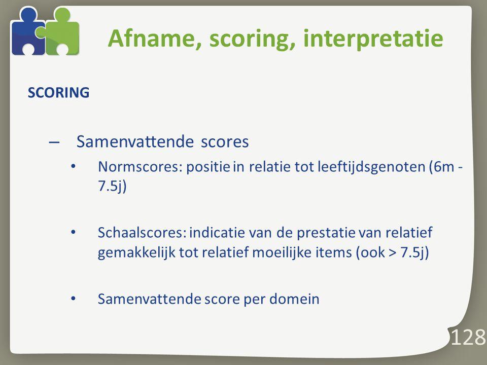Afname, scoring, interpretatie