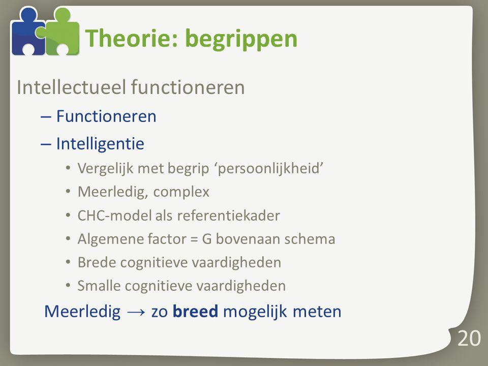 Theorie: begrippen Intellectueel functioneren Functioneren