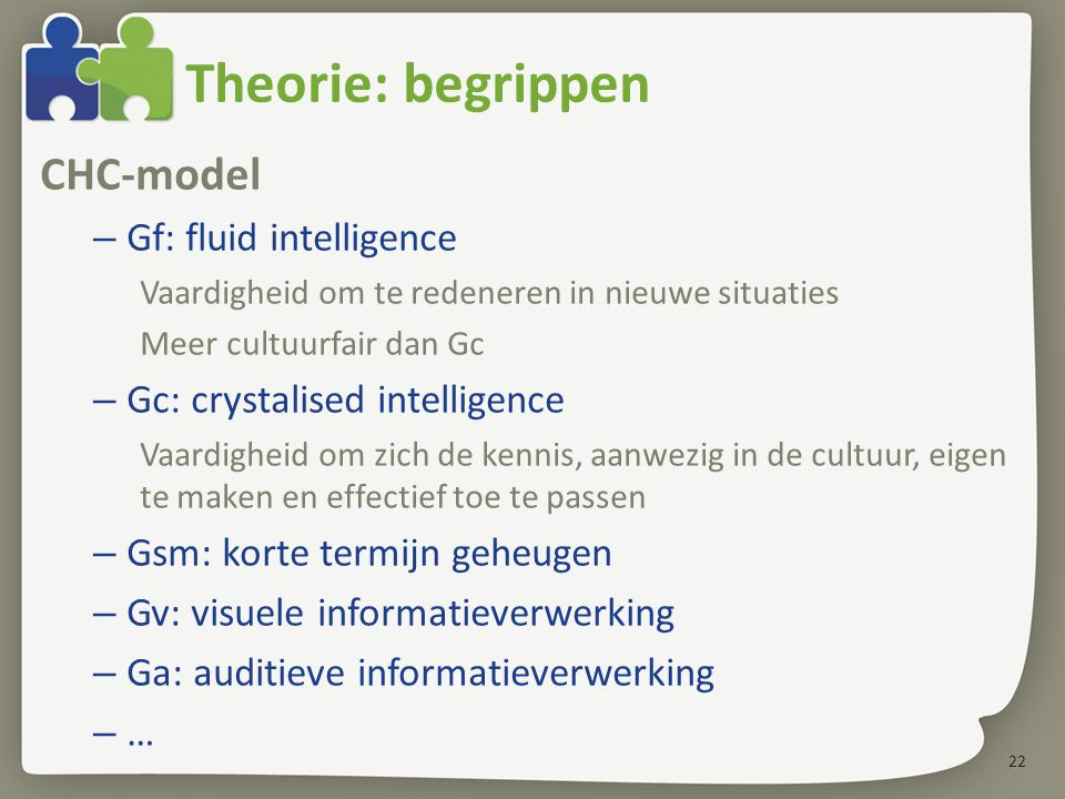 Theorie: begrippen CHC-model Gf: fluid intelligence