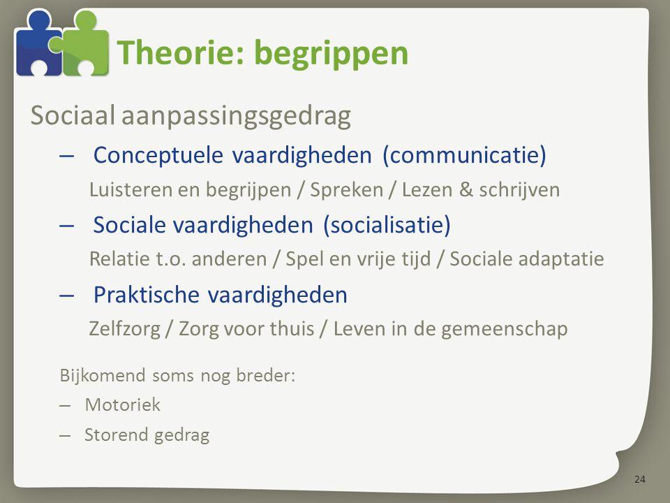 Theorie: begrippen Sociaal aanpassingsgedrag