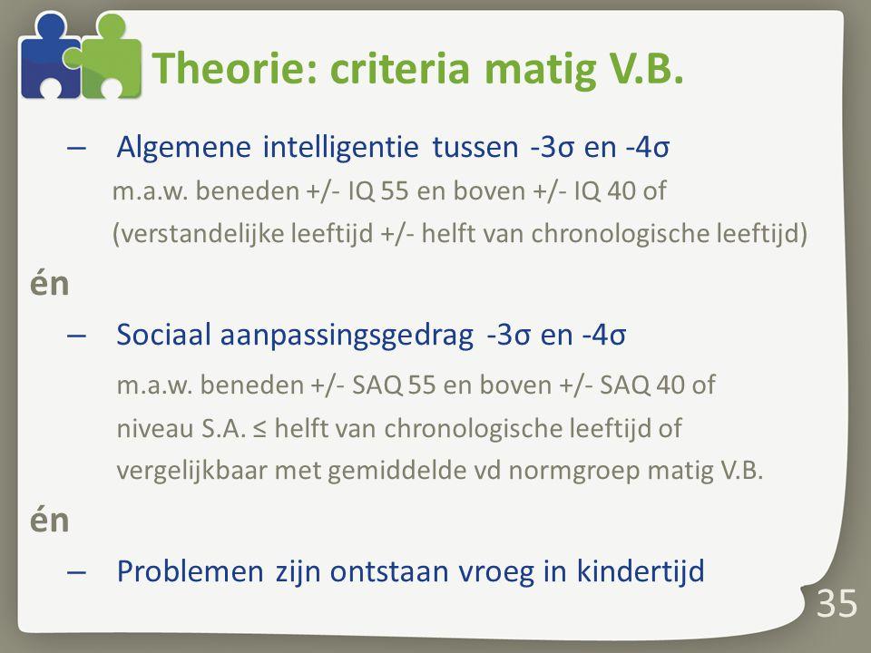 Theorie: criteria matig V.B.