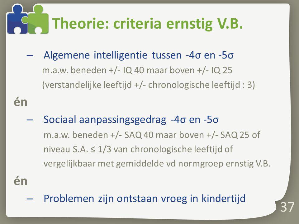 Theorie: criteria ernstig V.B.