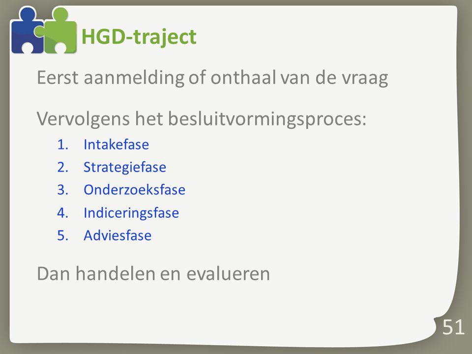HGD-traject Eerst aanmelding of onthaal van de vraag