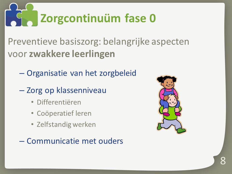 Zorgcontinuüm fase 0 Preventieve basiszorg: belangrijke aspecten voor zwakkere leerlingen. Organisatie van het zorgbeleid.