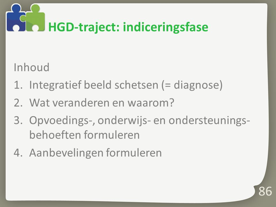HGD-traject: indiceringsfase