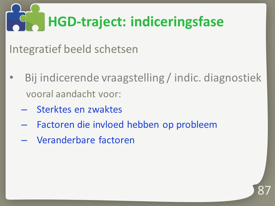 HGD-traject: indiceringsfase