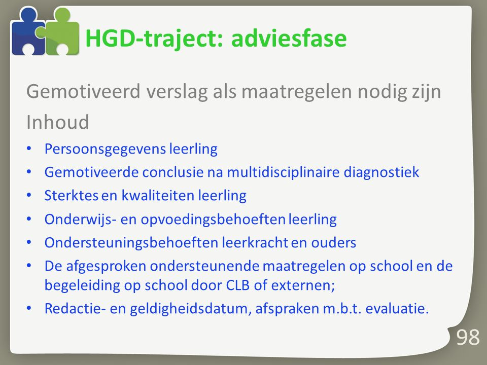 HGD-traject: adviesfase