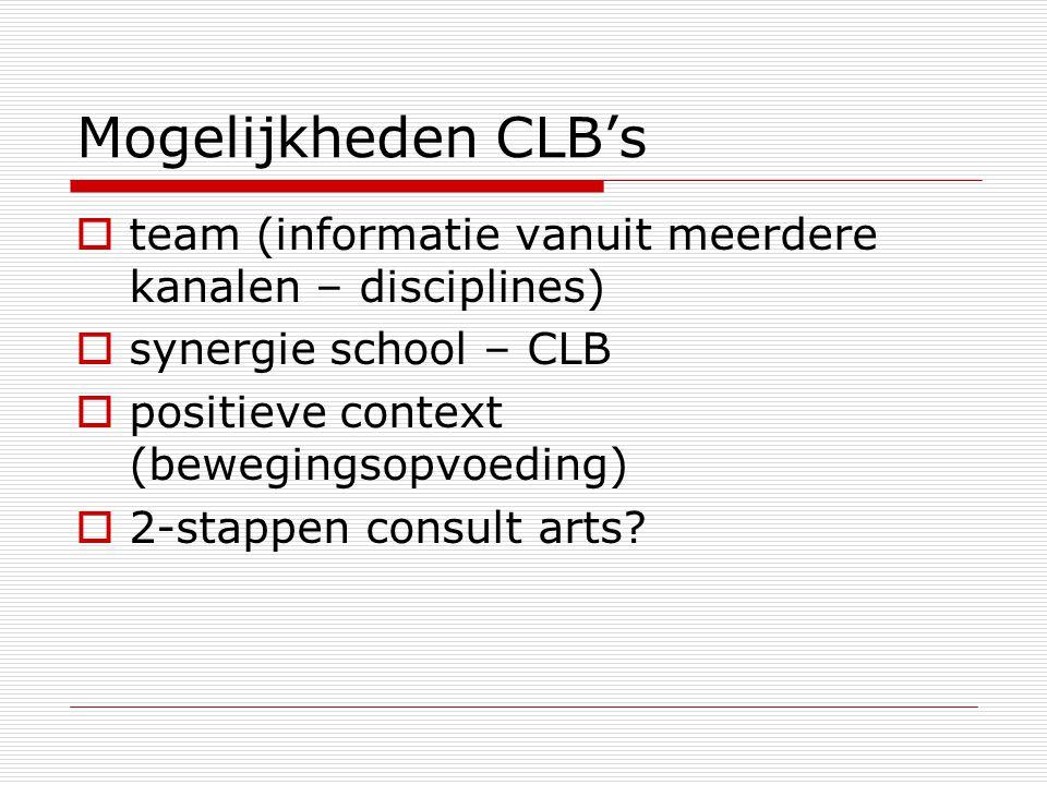 Mogelijkheden CLB's team (informatie vanuit meerdere kanalen – disciplines) synergie school – CLB.