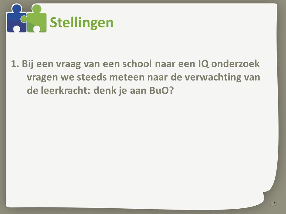 Stellingen 1. Bij een vraag van een school naar een IQ onderzoek vragen we steeds meteen naar de verwachting van de leerkracht: denk je aan BuO