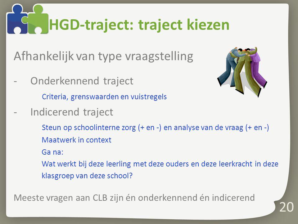 HGD-traject: traject kiezen