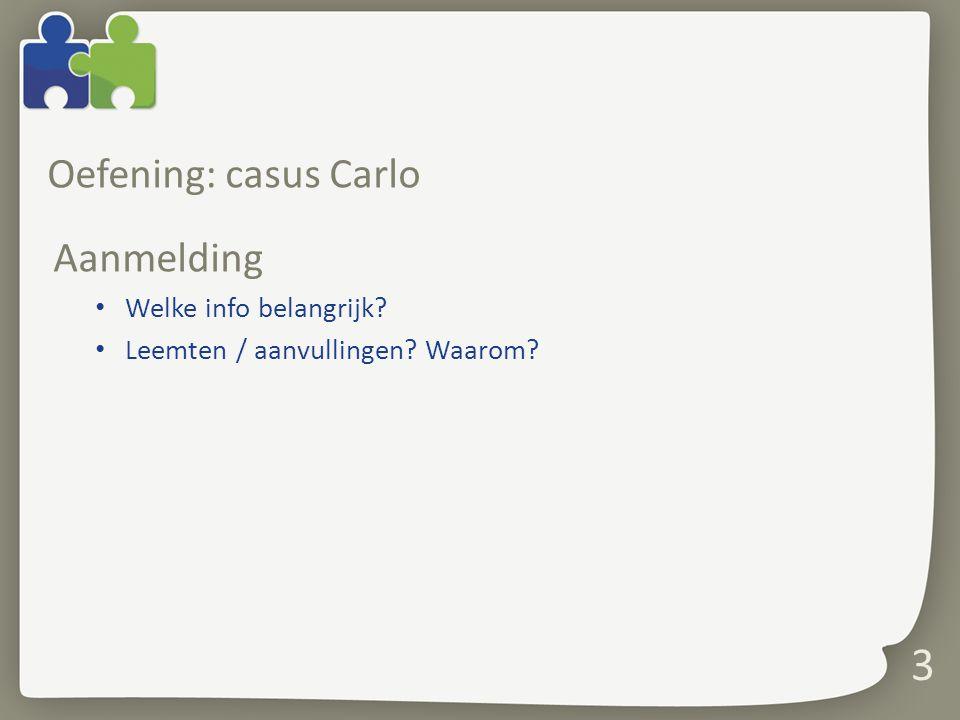 Oefening: casus Carlo Aanmelding Welke info belangrijk