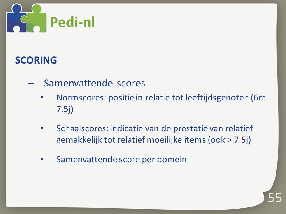Pedi-nl 55 SCORING Samenvattende scores