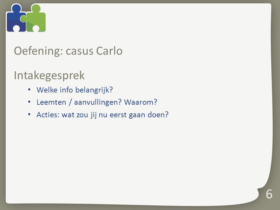 Oefening: casus Carlo Intakegesprek Welke info belangrijk