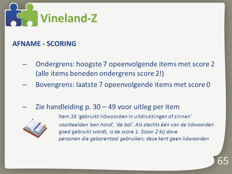 Vineland-Z 65 AFNAME - SCORING