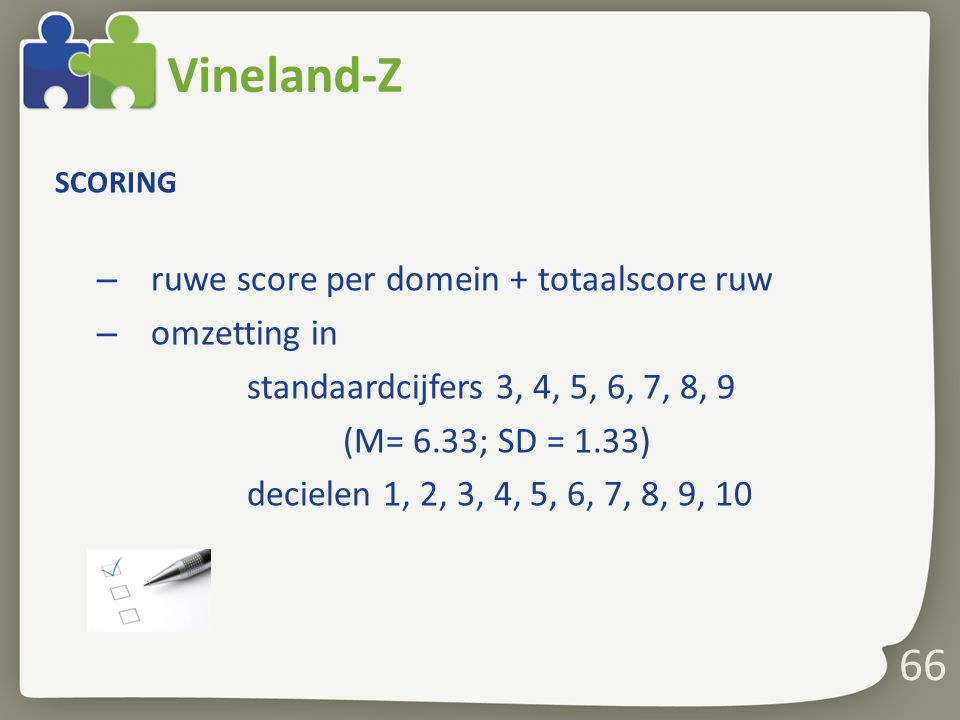 Vineland-Z 66 ruwe score per domein + totaalscore ruw omzetting in