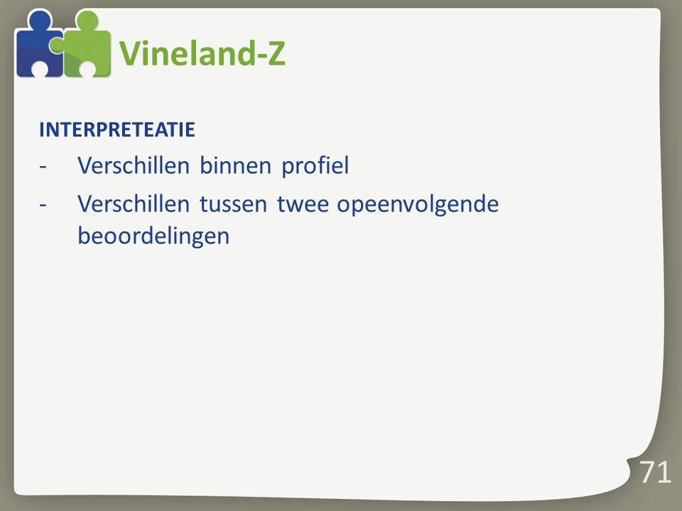 Vineland-Z 71 Verschillen binnen profiel