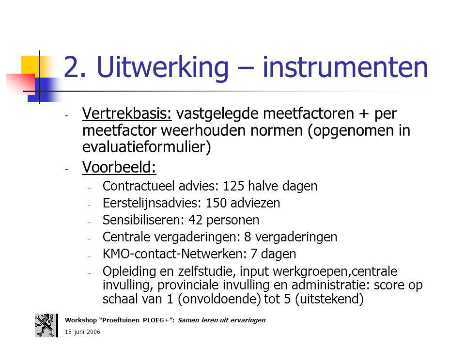2. Uitwerking – instrumenten