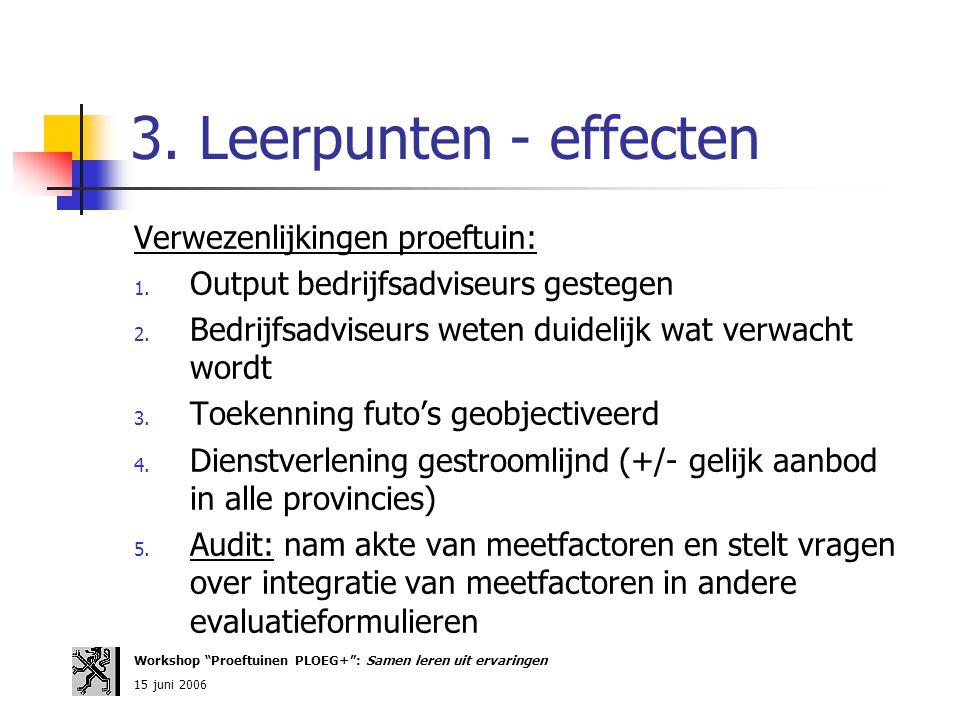 3. Leerpunten - effecten Verwezenlijkingen proeftuin: