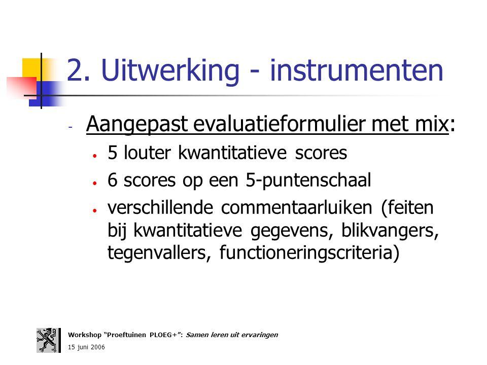 2. Uitwerking - instrumenten