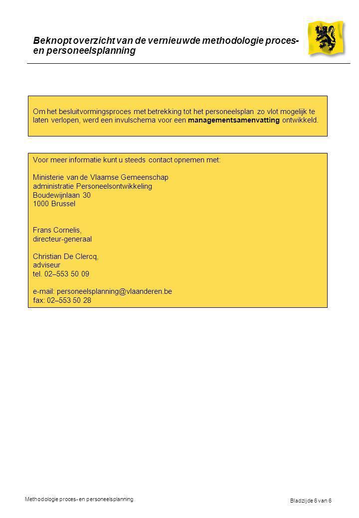 Beknopt overzicht van de vernieuwde methodologie proces- en personeelsplanning