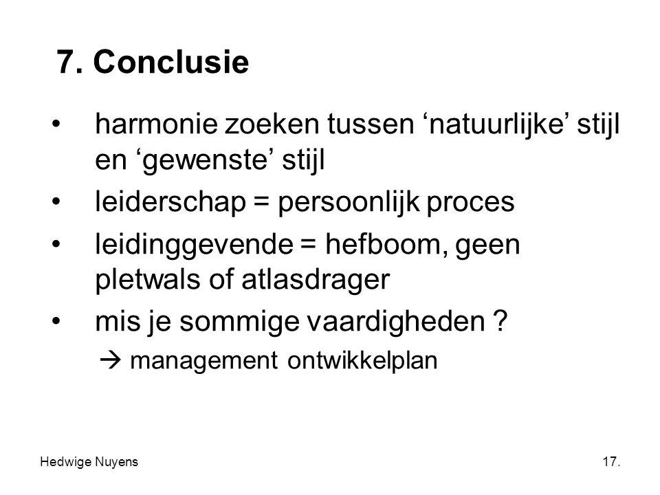 7. Conclusie harmonie zoeken tussen 'natuurlijke' stijl en 'gewenste' stijl. leiderschap = persoonlijk proces.