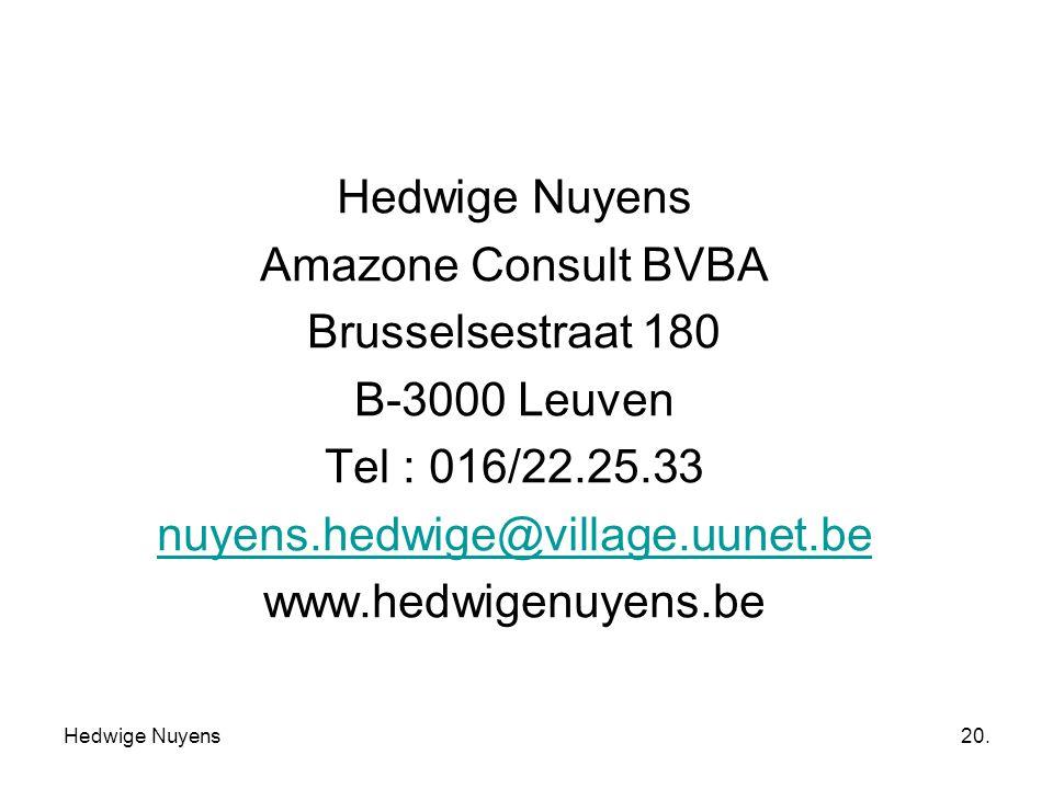 Hedwige Nuyens Amazone Consult BVBA Brusselsestraat 180 B-3000 Leuven