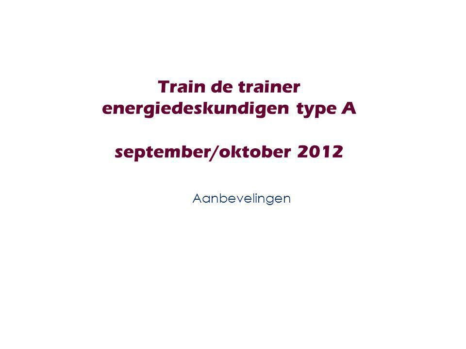 Train de trainer energiedeskundigen type A september/oktober 2012